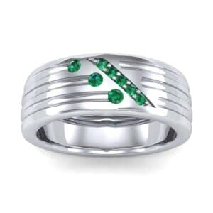 Diagonal Pave Emerald Ring (0.39 Carat)