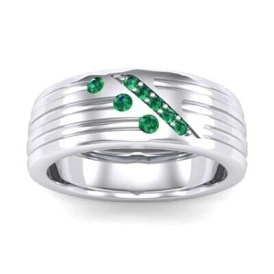 Diagonal Pave Emerald Ring (0.39 Carat)