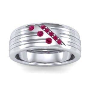 Diagonal Pave Ruby Ring (0.39 Carat)