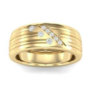 Diagonal Pave Diamond Ring (0.19 Carat)