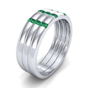 Triple Vertical Channel Emerald Ring (0.36 Carat)