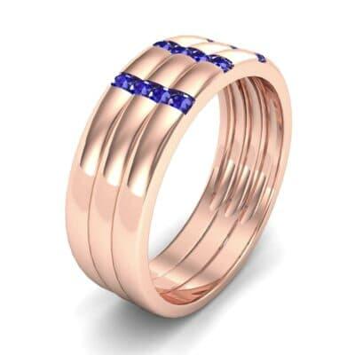 Triple Vertical Channel Blue Sapphire Ring (0.36 Carat)