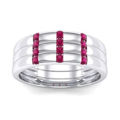 Triple Vertical Channel Ruby Ring (0.36 Carat)