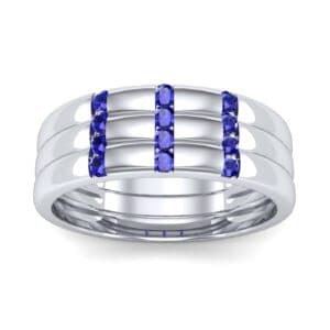 Triple Vertical Channel Blue Sapphire Ring (0.36 Carat)
