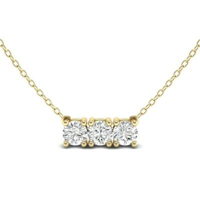Round Brilliant Trio Diamond Pendant Necklace (0.69 CTW) Top Dynamic View
