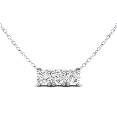 Round Brilliant Trio Crystal Pendant Necklace (0.69 CTW) Top Dynamic View