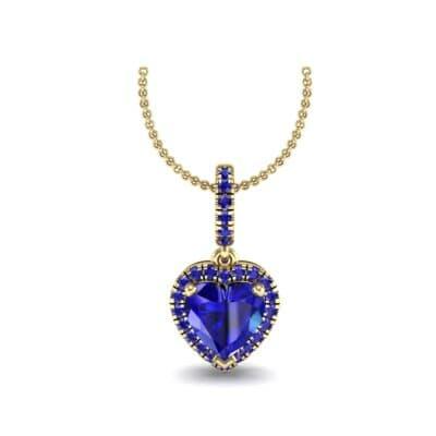 Heart-Shaped Halo Blue Sapphire Pendant (1.3 Carat)