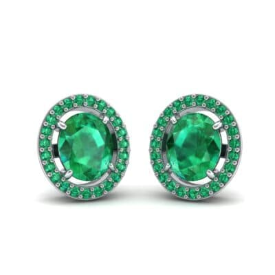 Floating Halo Oval Emerald Earrings (1.28 Carat)