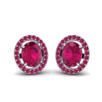 Floating Halo Oval Ruby Earrings (1.28 Carat)