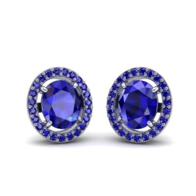 Floating Halo Oval Blue Sapphire Earrings (1.28 Carat)