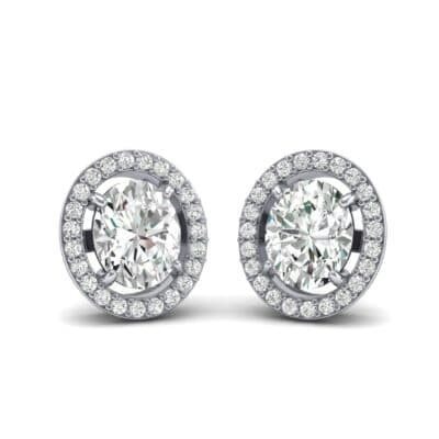 Floating Halo Oval Diamond Earrings (0.93 Carat)
