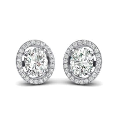 Floating Halo Oval Crystals Earrings (0.93 Carat)