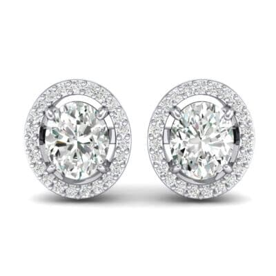 Floating Halo Oval Crystal Earrings (0.93 CTW) Side View