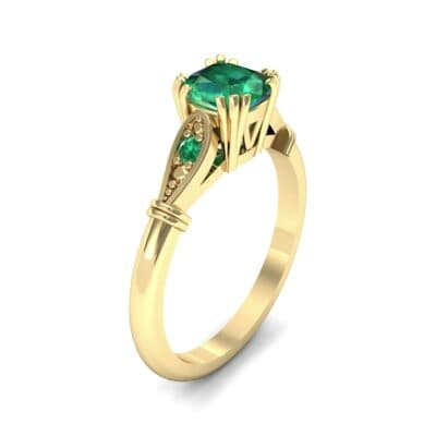 Vintage Shoulder Emerald Engagement Ring (0.8 Carat)