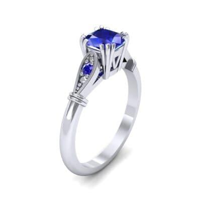 Vintage Shoulder Blue Sapphire Engagement Ring (0.8 Carat)