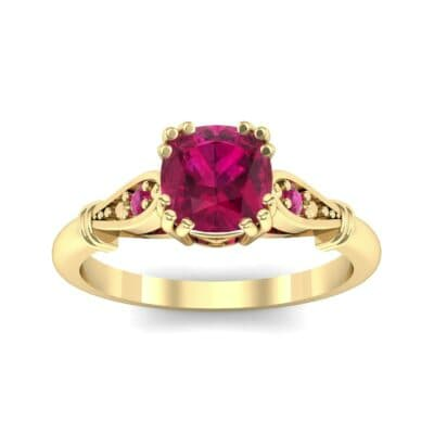 Vintage Shoulder Ruby Engagement Ring (0.8 Carat)