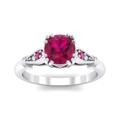 Vintage Shoulder Ruby Engagement Ring (0.8 Carat)