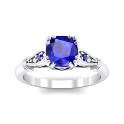 Vintage Shoulder Blue Sapphire Engagement Ring (0.8 Carat)