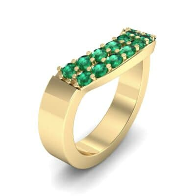 Curved Two-Row Emerald Ring (0.63 Carat)