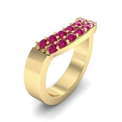 Curved Two-Row Ruby Ring (0.63 Carat)