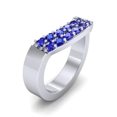 Curved Two-Row Blue Sapphire Ring (0.63 Carat)
