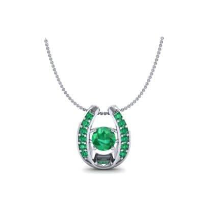 Horseshoe Emerald Pendant Necklace (0.76 CTW) Perspective View