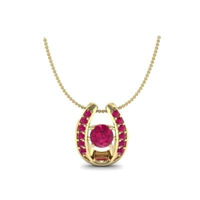 Horseshoe Ruby Pendant Necklace (0.76 Carat)