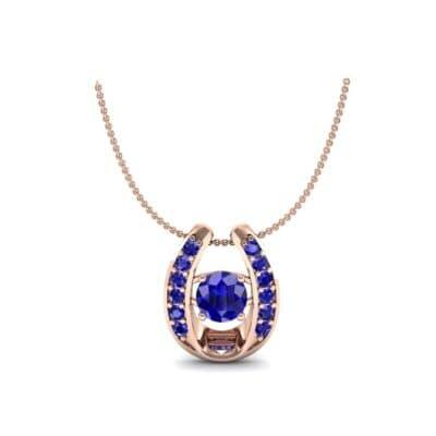 Horseshoe Blue Sapphire Pendant Necklace (0.76 Carat)