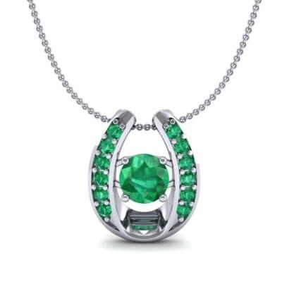 Horseshoe Emerald Pendant Necklace (0.76 CTW) Top Dynamic View