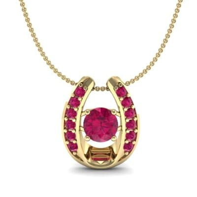 Horseshoe Ruby Pendant Necklace (0.76 CTW) Top Dynamic View