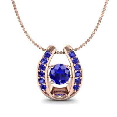 Horseshoe Blue Sapphire Pendant Necklace (0.76 CTW) Top Dynamic View