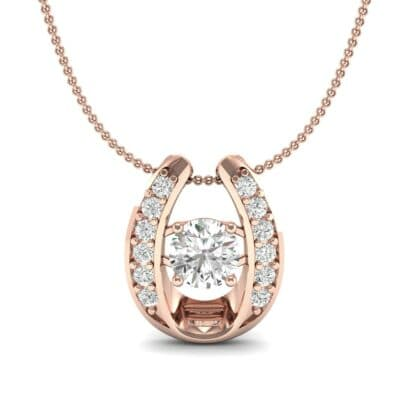 Horseshoe Diamond Pendant Necklace (0.76 CTW) Top Dynamic View