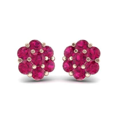 Astrid Ruby Cluster Earrings (1.02 Carat)