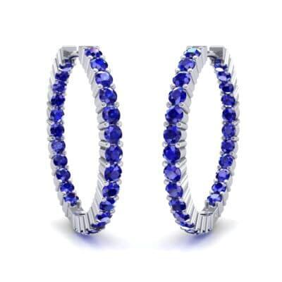 Luxe Blue Sapphire Hoop Earrings (1.56 Carat)