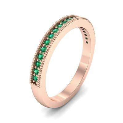 Milgrain Pave Emerald Ring (0.16 Carat)