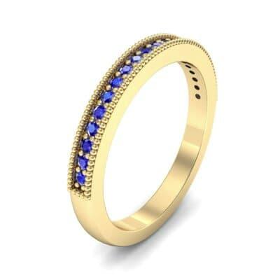 Milgrain Pave Blue Sapphire Ring (0.16 Carat)