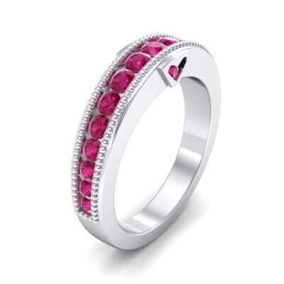 Tapered Milgrain Ruby Ring (0.44 Carat)