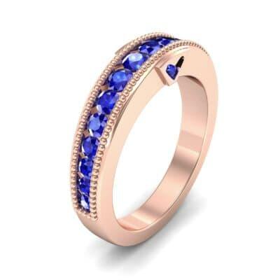 Tapered Milgrain Blue Sapphire Ring (0.44 Carat)
