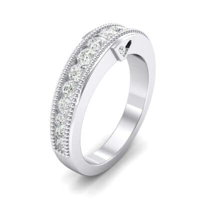 Tapered Milgrain Crystals Ring (0.44 Carat)