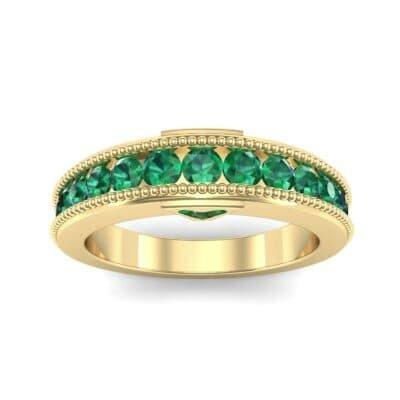 Tapered Milgrain Emerald Ring (0.44 Carat)