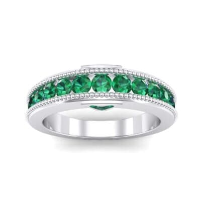 Tapered Milgrain Emerald Ring (0.44 Carat)