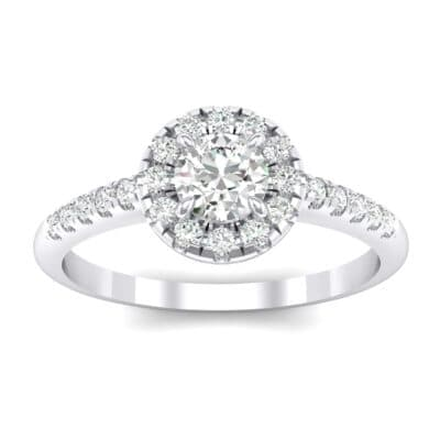 Round Halo Pave Crystals Engagement Ring (0.79 Carat)