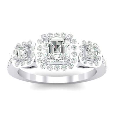 Three-Stone Halo Crystals Engagement Ring (1.39 Carat)