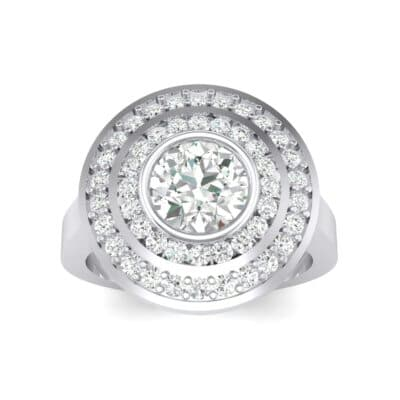 Petal Double Halo Crystals Engagement Ring (1.43 Carat)