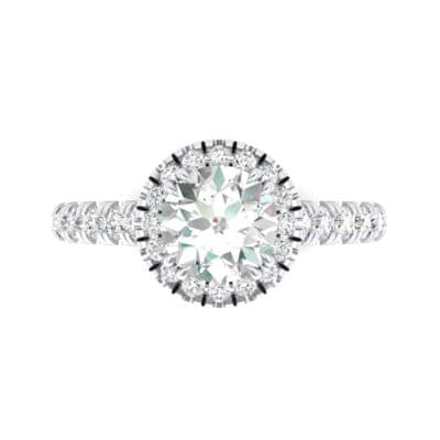 Thin Double Claw Prong Halo Crystal Engagement Ring (1.01 CTW) Top Flat View