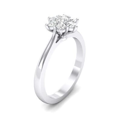 Floral Crystals Cluster Engagement Ring (0.44 Carat)