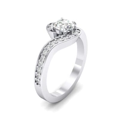 Swirl Pave Crystal Bypass Engagement Ring (1.03 CTW) Perspective View