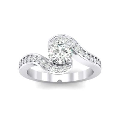 Swirl Pave Crystal Bypass Engagement Ring (1.03 CTW) Top Dynamic View