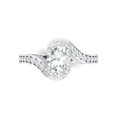 Swirl Pave Crystal Bypass Engagement Ring (1.03 CTW) Top Flat View