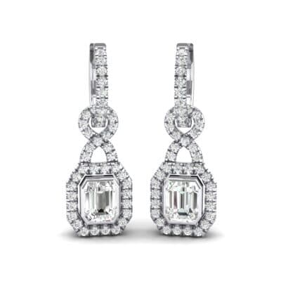 Twist Emerald-Cut Halo Crystals Drop Earrings